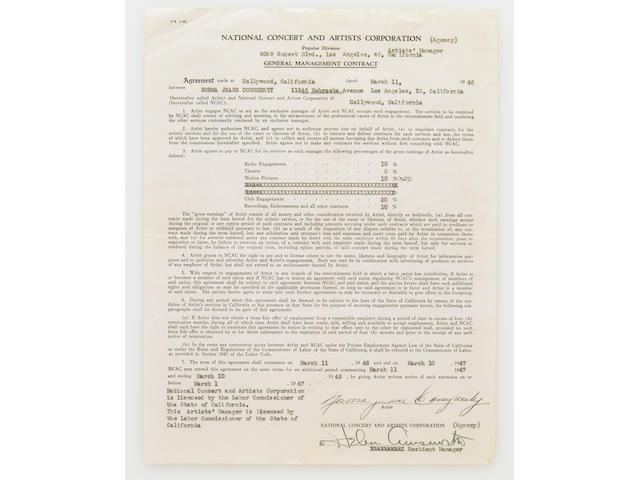 A Norma Jeane Dougherty signed contract