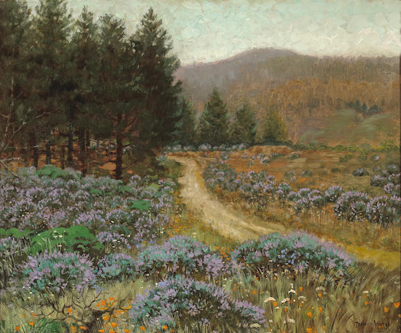 Theodore Wores (1859-1939)  Blue Lupine and Sutro Forest, San Francisco, 1912 30 x 36 1/4in