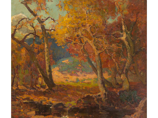 Franz Bischoff (1864-1929) A Woodland Brook 30 x 34in