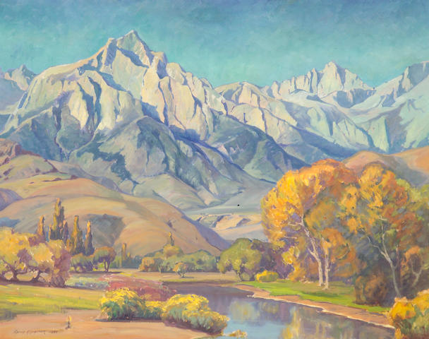 Aaron Edward Kilpatrick (1872-1953) Rugged Mountain Range with Meandering Autumn Stream below (No.467), 1935 40 1/4 x 50 1/2in