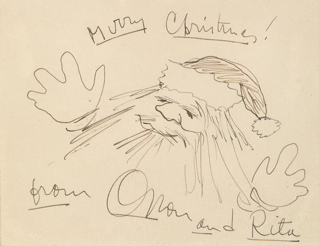 An Orson Welles signed drawing