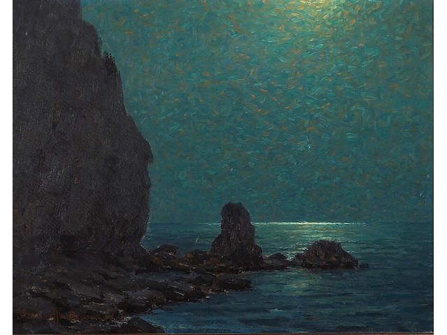 Granville Redmond (1871-1935) Catalina Island Coast under a Moonlit Sky, 1920 11 x 14in