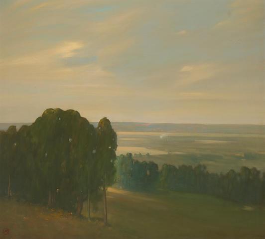 Xavier Martinez (1869-1943) Eucalyptus Grove in a Vast Landscape 36 1/4 x 40in