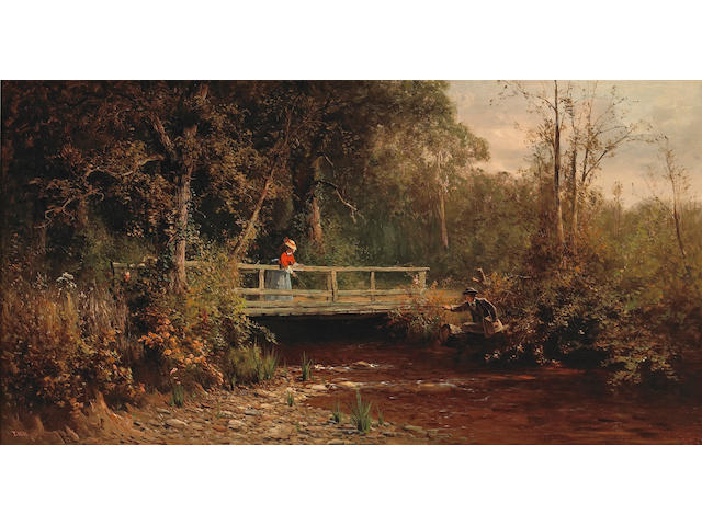 Thomas Hill (1829-1908) Fishing from the Bridge, Lagunitas Creek 18 x 30 1/4in