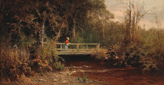 Thomas Hill (1829-1908) Fishing from the Bridge, Lagunitas Creek 18 x 30 1/4in