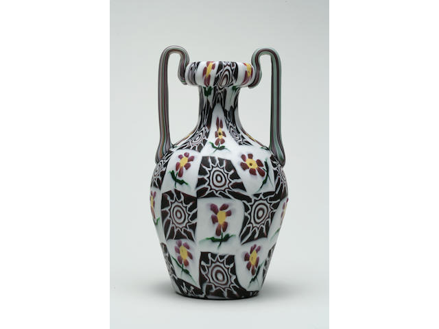 A Fratelli Toso floral Murrina glass two-handled vase