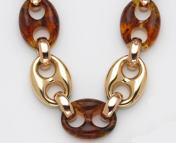 An amber and eighteen karat gold necklace, Nardi