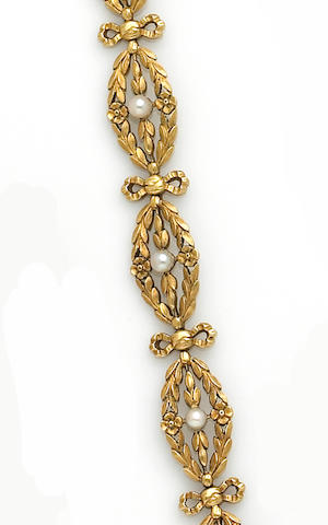 A seed pearl and eighteen karat gold bracelet, French,