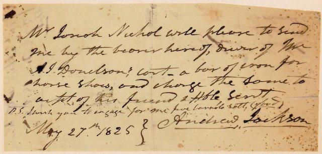 JACKSON, ANDREW. 1767-1845.