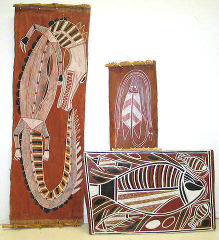 Three Australian Aboriginal bark paintings: Billinjara Nabegeyo, Malangi and unsigned