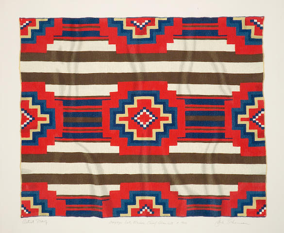 "Jack Silverman signed serigraph, ""Navajo Late Classic Chief Blanket c.1900"""