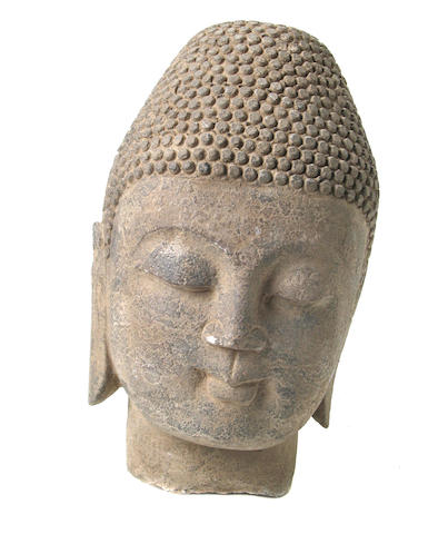 A Chinese carved stone head of Buddha