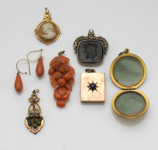 A collection of Victorian gem-set, 10k and gold-filled jewelry