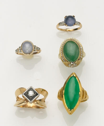 A collection of five gem-set, diamond, high karat and 14k gold rings