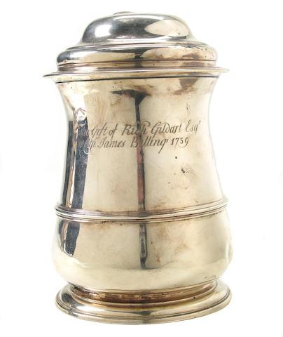 George II Silver Tankard with Presentation Inscription of Liverpool Interest
