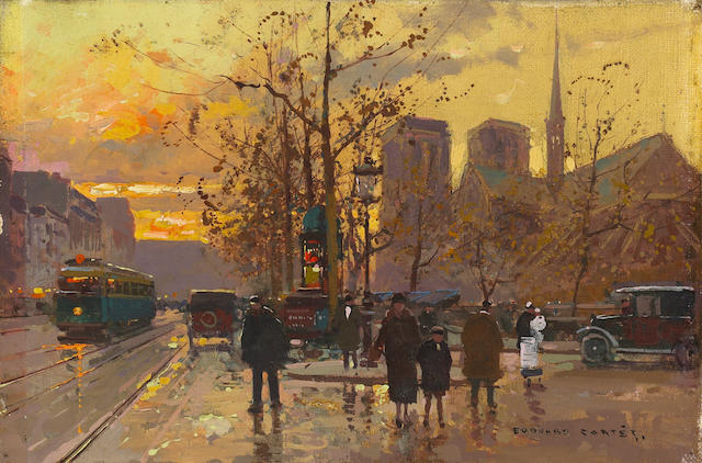 Edouard Cortès (French 1882-1969) A View of Notre Dame from the Quai de Montebello 8 1/2 x 13in (21.6 x 33cm)