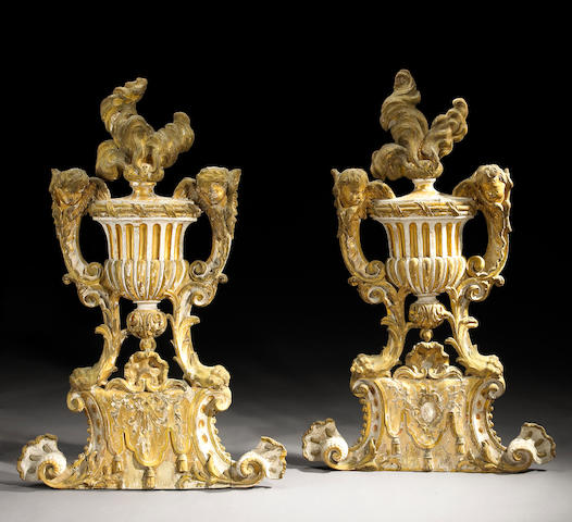 A fine pair of Italian Neoclassical painted and parcel gilt architectural elements