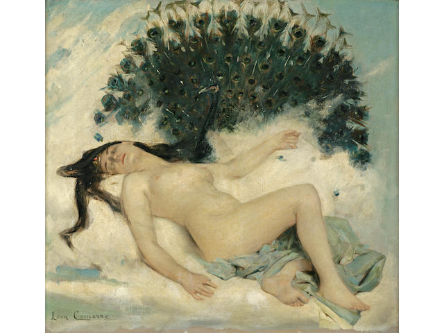 Léon François Comerre (French 1850 - 1916) Sleeping Woman with a Peacock 15 x 16 1/4in (38 x 41cm)