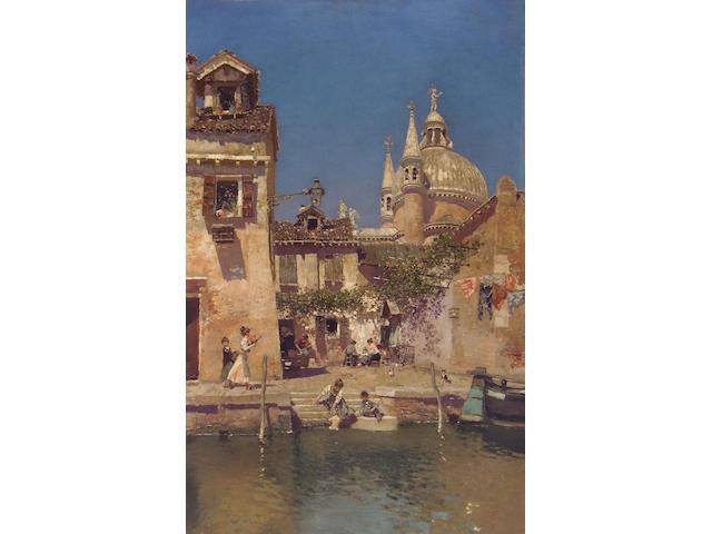 Martin Rico y Ortega (Spanish 1833-1908) Venetian Canal Scene 28 1/2 x 18 1/8in (72.5 x 46cm)
