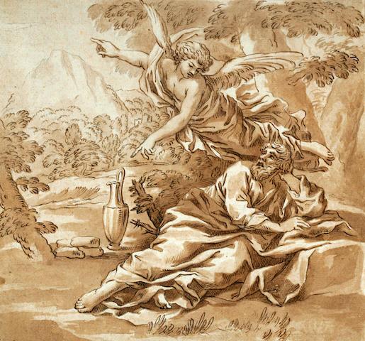 Anton Domenico Gabbiani (Italian 1652-1726) Elijah and the Angel 9 1/16 x 9 5/8in (23 x 24.5cm)