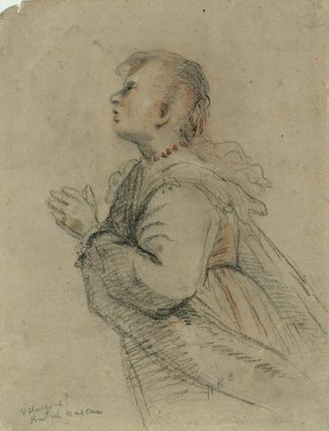 After Diego Rodriguez de Silva y Velasquez (Spanish 1599-1660) Praying Woman 12 x 9 1/4in (30.5 x 23.5cm) unframed