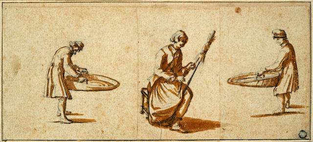 Circle of Jacques Callot (French 1592-1635) Peasants at Work: two 3 3/4 x 8 1/8in (9.5 x 20.5cm) unframed