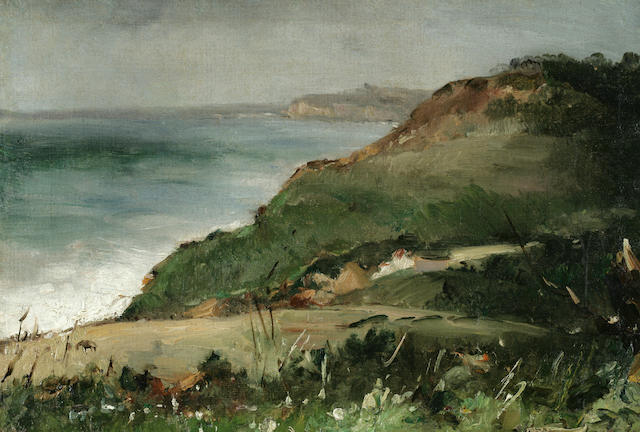 Alberto Pasini (Italian 1826-1899) Cliff and Ocean View 9 1/2 x 13 3/4in (24 x 35cm)