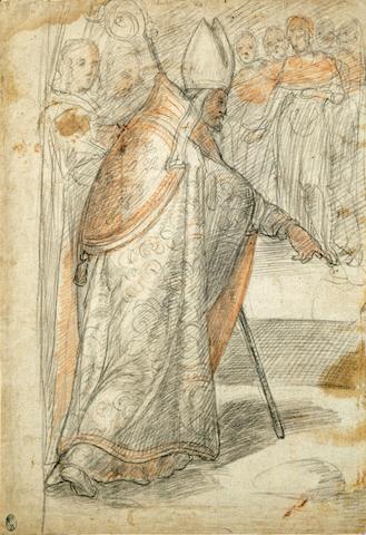 Federico Zuccaro (Italian 1540-1609) Study for a Scene in the Sala dei Fast Farnesiani 12 1/4 x 8 5/8in (31.5 x 21.9cm) unframed