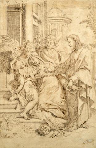 Circle of Sebastiano Ricci (Italian 1659-1734) Saint in Ecstasy 14 1/2 x 9 5/8in (36.8 x 24.5cm)