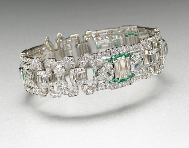 An art deco diamond, emerald and platinum bracelet, Bert H. Satz,