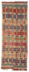 A Turkish Kilim long carpet size approximately 5ft 6in x 13ft 9in