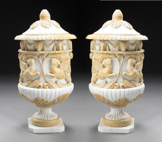 A pair of Neoclassical syle marble urns