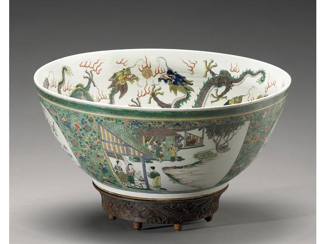 A massive famille verte enameled porcelain punch bowl Late Qing Dynasty