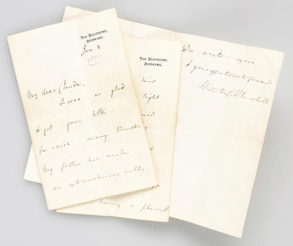 ALS of Winston Churchill, Jan 1895, Reporting on illness of his father, 12pp