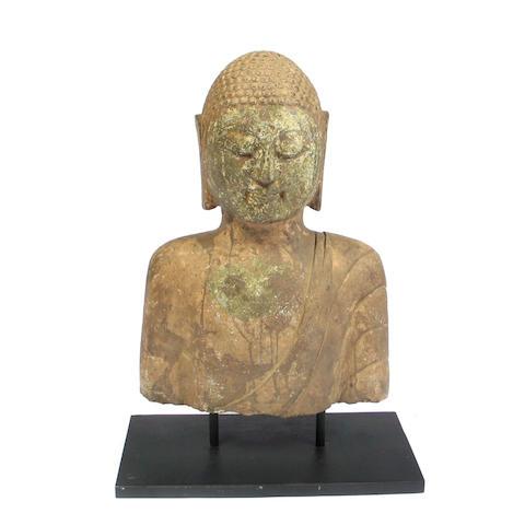 A Chinese stone bust of Buddha