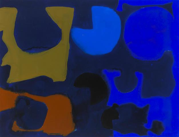 Patrick Heron (British, 1920-1999) Indigo Round Umber and Venetian and Into Ultramarine, 1968 23 1/4 x 30 1/2in (59 x 77cm)
