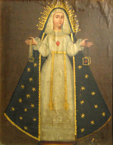 Spanish Colonial 19th C., The Virgin, o/c laid down