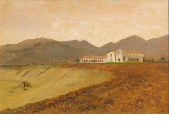 Lockwood  De Forest (American, 1850-1932) Santa Ynez Mission 9 1/2 x 14in