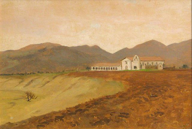 Lockwood  De Forest (American, 1850-1932) Santa Ynez Mission 9 1/2 x 14in