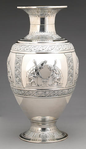 An Italian silver pair of vases after the antique