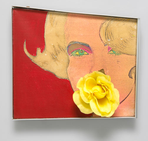 Martial Rayesse painting Almost 1964 oil on canvas and print with attached artificial rose