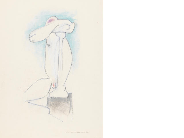 Hans Burkhardt Crouching Figure conte crayon and pastel on paper