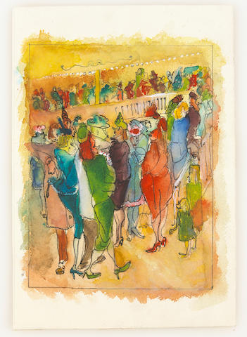 Andy Warhol (American, 1928-1987) Untitled (Crowd), 1947 9 5/8 x 6 5/8in (24.5 x 17cm)