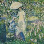 Frederick Carl Frieseke, Two Ladies in a Garden, oil on canvas, 32 x 32 in