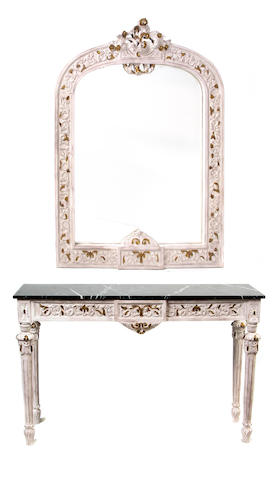 A Louis XVI style painted and parcel gilt console table with marble top and mirror
