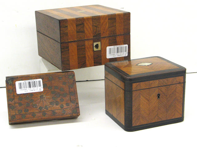 A group of three inlaid wood boxes