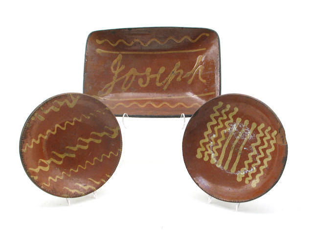 A group of seven redware articles