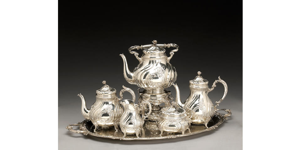 German Silver Five Piece Tea and Coffee Set with Matching Tray in the Rococo Taste