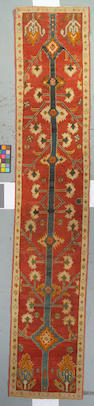 An Oushak runner West Anatolia size approximately 2ft 7in x 13ft 7in