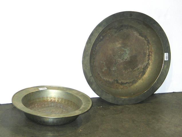 Two large brass basins